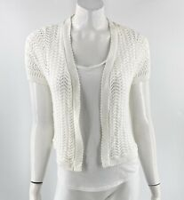 Basic Editions Cropped Cardigan Sweater Size Medium White Open Knit Open Front