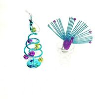 """Peacock Inspired Christmas 5"""" Ornaments 2 Piece Lot Clip On Bird & Bell Tree"""