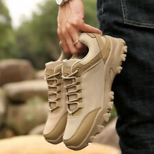 Mens Low top Lace up Military Desert Ankle Boots Slip Resistant Casual Shoes NEW