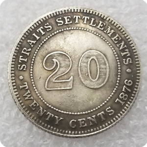 CA 1876 VICTORIA QUEEN SETTLEMENTS STRAITS TWENTY CENTS COMMEMORATIVE COIN