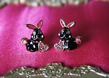 Betsey Johnson CRITTER BOOST Black Bunny Rabbit Stud Earring Valentines RARE