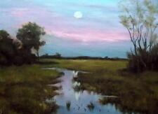Eventide: original pintura al óleo impresionista Alan Dickson 21cm X 30cm