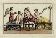 Costume Grec Antiquité Orgie Banquet Grèce Repas Gravure aquarelle Spallart