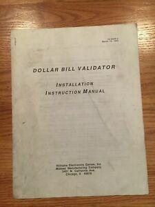 Dollar Bill Validator Installation Instruction Manual, Williams 1993