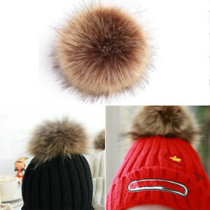 15cm Big Faux Fur Pom Poms Ball With Press Buttonfor Knitted Hat Beanies Cap UK