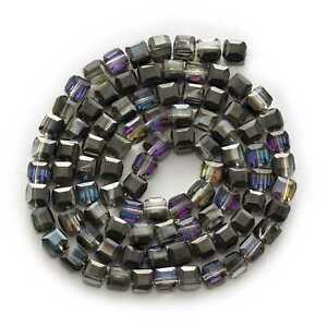 50pcs Plating Square Faceted Crystal Glass loose spacer Beads Jewelry Making