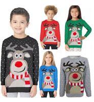 Kids Boys Girls Warm 3D Pompom Nose Reindeer Christmas Jumper Age 5-13 Years