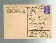 1943 Germany Buchenwald Concentration Camp Postcard Cover Emil Hrsel to Prague