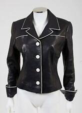 Jean Claude Jitrois White Piped Black Leather Jacket Blazer sz 38