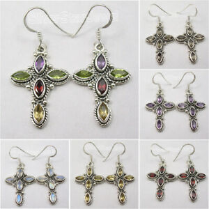 925 Silver CROSS Earrings GARNET, MULTICOLOR & Other Rich Gemstones Variations