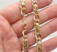 "18"" Technibond Fancy Multi Curb Oval Chain Necklace 14K Yellow Gold Clad Silver"