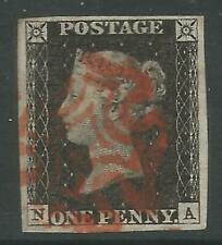 STAMPS-GREAT BRITAIN. 1840. 1d Intense Black. Lettered N.A. Plate 1b. SG: 1. VFU