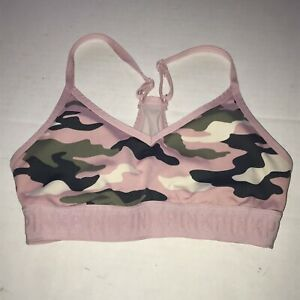 "Victoria Secret ""PINK"" ULTIMATE Camo Green Racerback Sports Bra Size XS"