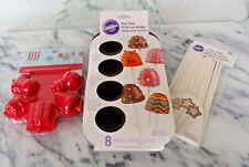 Wilton Cake Pops Mold 8 Cavities, Silicone Cake Pop Press, 20 Sticks New Pack
