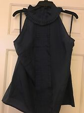 NWT Ann Taylor Top NEW 100% Silk Blue Pleated Front Sleeveless Tank Blouse L $78