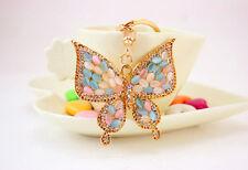 Gold Butterfly Diamante Rhinestone Bag Charms Handbag Pendant Keyring Key Chain