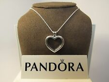 New w/Box Pandora Floating Heart Locket Sapphire Crystal Glass w/Chain 590544-60