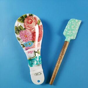 The Pioneer Woman Spoon Rest and Spatula 2 pc set ~ SWEET ROSE