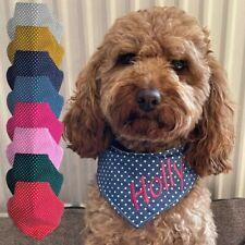 Hundehalstuch Punkte 4 Größen verstellbar 8 Farben mit Namen bestickt Handmade
