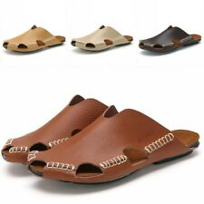 Mens Leather Sandals Slipper Closed Toe Outdoor Beach Casual Shoes Plus Size New