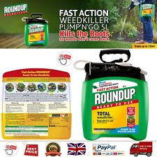 Roundup Fast Action Weedkiller Pump n Go Spray Ready to Use 5L Kills Weeds Roots