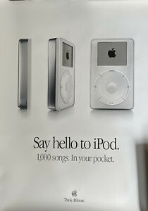 """Vintage Apple Computer """"Welcome to iPod"""" poster (22""""x28"""") - MINT CONDITION"""