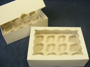 Mini Cupcake Boxes White & Clear Lid - Holds 9, 12 or 24 diff pack sizes