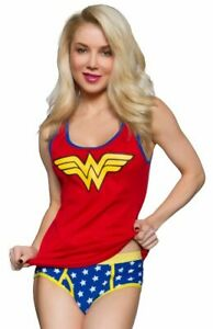 WONDER WOMAN SYMBOL LADIES JUNIOR CAMISOLE AND PANTY SET WITH CAPE(women's Size)