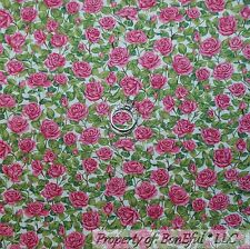 BonEful Fabric Cotton Quilt Off White Pink Small Rosebud FLOWER Green Leaf SCRAP