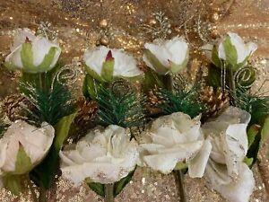 Christmas Rose Flower Decoration 6pc Rose White Glitter Acorns Garland Tree AGE