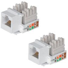 2x RJ45 IDC Network Keystone Jack Module-CAT5 & CAT6 Ethernet Plastic Connector