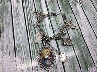 Alice in Wonderland Silver Charm Bracelet Alice Rabbit Clock World Book Day