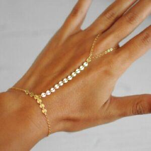 UK Indian Finger Gold Ring Hand Harness Chain Bracelet Rhinestone Jewellery Wear