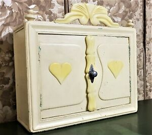 Wedding amour love painted wall cabinet Vintage french architectural salvage