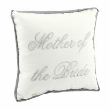 Wedding Gift Ivory Cushion with Silver Embroidered Wording - Mother of the Bride