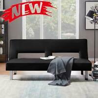 Modern PU Futon Sofa Bed Sleeper Fold Up & Down Recliner Couch Convertible Black