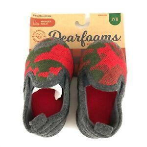 Dearfoams Toddler Boys Slippers Memory Foam Camouflage Red Green Gray Size 7/8