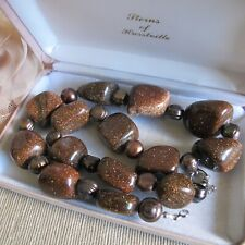 Vintage Estate Jewellery Stunning Sparkly Goldstone & Genuine Pearls Necklace