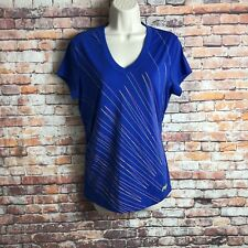 FILA Sport Womens Size Large Blue Yellow V Neckline Classic Graphic T Shirt Top