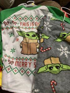Boys Baby Yoda Christmas Pajamas Size 8 Mandalorian Star Wars Long Sleeve Pants