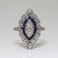 Vintage Women 925 Sliver White Topaz & Sapphire Jewelry Wedding Ring Gift Sz5-12