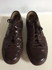 LACOSTE BROWN POLISHED LEATHER TRAINERS - SIZE 9 EUR 43 US 10
