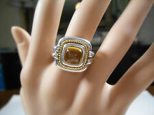 Tiffany & Co Citrine Ring 18K 750 Yellow Gold & Sterling Silver Sizable 6 Rare