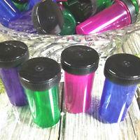 DEAL!  20 Green Purple Blue Pink Pill Bottles JARS Black Caps 3814 DecoJars USA