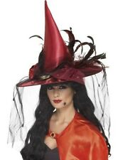 Deluxe Witch Hat Womans Girl Deep Red Net Feathers Fancy Dress Halloween Horror