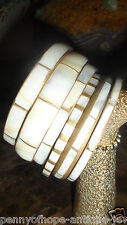 vintage mother of pearl  and brass set of six bracelet sold in large stores SALE