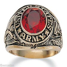 ARMY GOLD  PLATED RUBY CZ MILITARY RING ALL SIZES 8 9 10 11 12 13