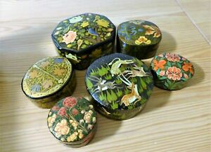 6 VINTAGE BOXES INDIA KASHMIR HAND MADE PAINTED PAPER MACHIE MACHE - BEAUTIFUL.