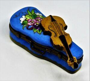 LIMOGES FRANCE BOX - VIALARD - BLUE FLORAL CASE & VIOLIN - BOUQUET OF FLOWERS