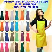 Premier Bib Apron,Chef Tabard Kitchen Uniform,Unisex Cafe Catering 60Color PR150